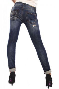 Rinascimento, Jeans boydriend baggy, con borchie e Strappi, Art CFC0070011003