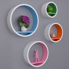 Furniture, Round white solid wood wall display bookcase with multi color touch beautiful decoration for gray paint color scheme for interior wall original purple flower on white ceramics vase tube glass candyjar: Stylish Wall Display Bookcase