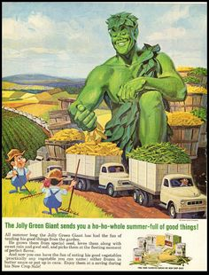 1960s  Ad Jolly Green Giant Canned Vegetables  