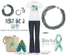 "Cervical Cancer Awareness: Featuring: ""Seaside"" necklace, earrings, and bracelet. ""Hope"" ring"