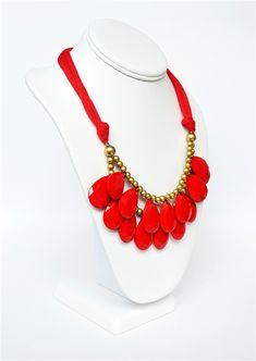 81f47ba1c4c Teardrop Bib Necklace, Drop Necklace, Bead Necklace, Red Necklace, Two Tier  Necklace