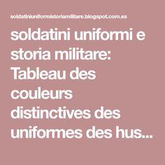 soldatini uniformi e storia militare: Tableau des couleurs distinctives des uniformes des hussards 1796/1803