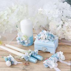 """Свадебные аксессуары ручной работы. Ярмарка Мастеров - ручная работа. Купить """"Голубые цветы"""" свадебный набор. Handmade. Голубой"""