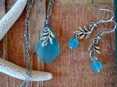 Leaf Branch Nature Sea Glass Jewelry Necklace Earring Set Aqua