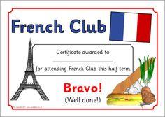 French Club certificates (SB3792) - SparkleBox