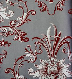 Astek // Mood Living Equus Dark Red and Silver Wallpaper Floral Pattern Wallpaper, Flower Wallpaper, Wallpaper Backgrounds, Wallpapers, Red And Silver Wallpaper, Silver Home Accessories, Red Cottage, Red Aesthetic, Red And Grey