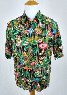 Reyn Spooner Shirt Medium Rare Disney Enchanted Tiki Room Mickey Mouse Hawaiian #ReynSpooner #Hawaiian