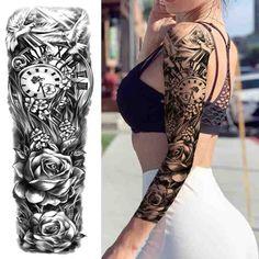 Arm Sleeve Tattoos For Women, Unique Half Sleeve Tattoos, Feminine Tattoo Sleeves, Temporary Tattoo Sleeves, Feminine Tattoos, Tattoos For Guys, Lace Tattoo Sleeves, Arm Sleeves, Tattoo Sleeve Filler