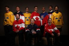Back row from left: Marcus Kruger (Sweden), Marian Hossa (Slovakia), Niklas Hjalmarsson (Sweden), Jonathan Toews (Canada), Michal Rozsival (...