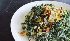 Shredded Coconut Kale Salad combines sweet with savory and is tossed in a creamy yogurt dressing you can feel great about
