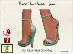 Sandals to match Crystal Sea green for Slink High Feet only