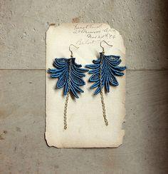 teal earrings / boho chic earrings / long lace earrings / MARTINE / feather earrings / statement earrings, festival jewelry, hippie earrings