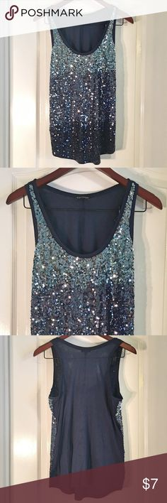 "Express Sequin Tank Express Sequin Tank ~ Size Small ~ 60% Cotton & 40% Modal ~ UA to UA is 17"" ~ Length (from shoulder) is 27"" Express Tops Tank Tops"