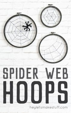 What is Halloween without some DIY Spooky Spider Hoops decor? The spider web is definitely a must when it comes to Halloween decor. Halloween Crafts For Kids, Halloween Projects, Diy Halloween Decorations, Diy Crafts For Kids, Happy Halloween, Halloween Stuff, Fall Crafts, Holiday Crafts, Spider Decorations