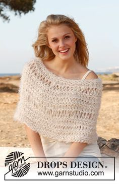 """Knitted DROPS shoulder warmer with dropped sts in """"Symphony"""", """"Alpaca Bouclé"""" and """"Cotton Viscose"""". ~ DROPS Design"""