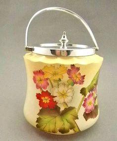 Antique Carlton Ware W Stoke on Trent Hand Painted Florals Biscuit Cracker Jar