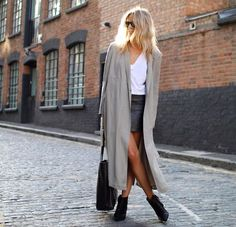 Casual perfection - styled with a pleather mini skirt, white cami and off duty duster style coat