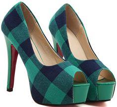Green Plaid Peep-toe Heels