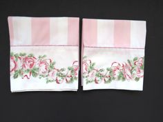 Pair Vintage LAURA ASHLEY Standard Pillowcases by J P Stevens - Country Rose…