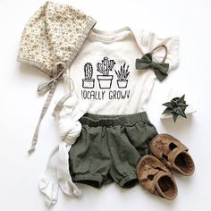 'Locally Grown' Organic Onesie Organic Romper from own cultivation Baby Outfits, Outfits Niños, Kids Outfits, Fashion Outfits, Newborn Outfits, Fashion Clothes, Spring Outfits, Fashion Kids, Baby Girl Fashion