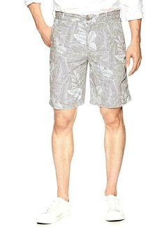 d2070de987 IZOD Saltwater Mens 38 Gray Relaxed Classics Seaport Poplin Shorts Palm  Leaves #IZOD #Bermudas