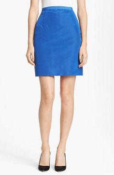 Oscar de la Renta Silk Royal Blue Pencil Skirt