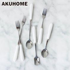 1.22$  Know more - Tableware Cutlery Fork Stainless Steel&Ceramic handle dinnerware set Silver Tea Coffee Teaspoons Ice Cream   #magazine