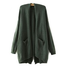 With Pockets Split-Back Green Cardigan ($25) ❤ liked on Polyvore featuring tops, cardigans, green, green top, pocket cardigan, knit cardigan, embellished cardigan and loose long sleeve tops