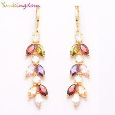 Yunkingdom Perfect Leaves Design Austrian crystals Long Earrings Gold Plated Fashion Jewelry Charming Wedding Earring ALP0126