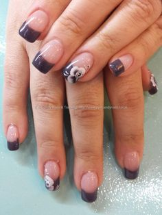 Charcoal grey tips with one stroke flower nail art