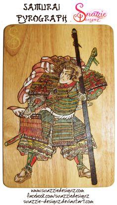 Samurai warrior burned into beech wood. The image is based on a Kuniyoshi Japanese Ukiyo-e (woodblock print). Ukiyo-e is particularly suited. Kuniyoshi, Samurai Warrior, Wooden Wall Art, Woodburning, Woodblock Print, Wood Work, Pyrography, Handmade Crafts, Carving