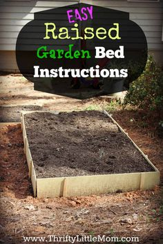 Easy Raised Garden Bed Instructions.  Materials list and step by step picture instructions for building a simple raised garden bed!