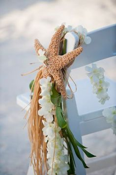 Use leis to decorate your pews for your beach wedding or tropical wedding ceremony. For more beach wedding ceremony decor ideas visit: . Beach Wedding Aisles, Wedding Aisle Decorations, Our Wedding, Dream Wedding, Beach Weddings, Wedding Ideas, Wedding Photos, Beach Ceremony, Wedding Vendors