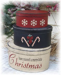 Have yourself a merry little Christmas primitive shaker style nesting boxes. $28.00, via Etsy.
