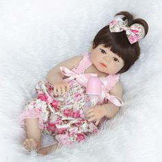 Clever 45cm Vinyl Realistic Baby Doll Curly Big Hair African Girl Doll Model With Yellow Jumpsuit Spare No Cost At Any Cost Toys & Hobbies