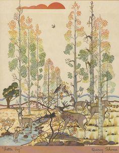 """Battle Cry"" by Navajo Artist Quincy Tahoma (1918-1956). Via Arizona Highways, February 1950"