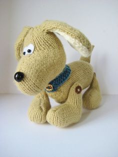 Biscuit the Friendly Dog toy knitting pattern with instant download by fluffandfuzz on Etsy