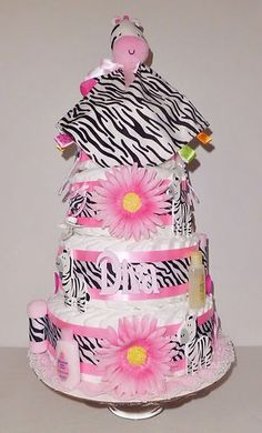 Mouse over image to zoom                                                                                                                                                                                                                                           Have one to sell? Sell it yourself         Zebra Diaper Cake-4 Layer-Pink Black and White- Baby Shower/Centerpiece CUTE!!  $95.00