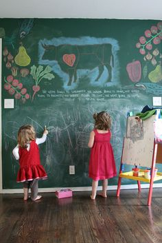 I have always wanted a chalkboard wall someone in the house...still trying to figure out where