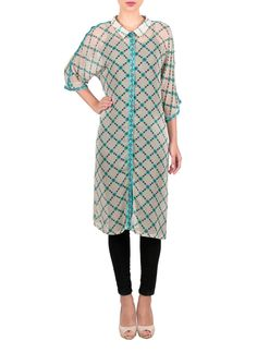 Lightweight and airy, this georgette tunic from Sougat Paul features a distinctive geometric print inspired by tribal style. Detailed with a narrow button front placket and a petite collar, this knee-length tunic features loose three quarter length sleeves accented with contrast color trim.