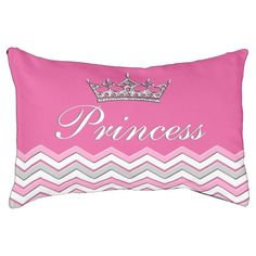 Princess or your doggy's NAME  Pink PERSONALIZED Dog Beds.  Small or Large pink Dog Bed with chevron and silver colored tiarra. Type in YIUR dogs name or your text. Washable removable cover.