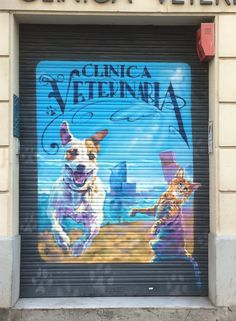 Cats & dogs on Barceloneta // painted shutter - Barcelona