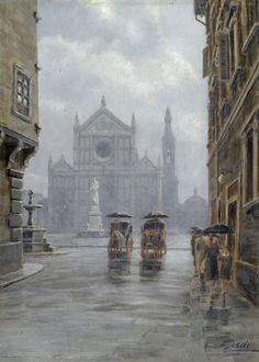 Inverno a Firenze (Piazza Santa Croce da via dell'Anguillara) by Mario Bordi Global Art, Art Market, Past, Firenze, Auction, Mario, Painting, Bella, Southern