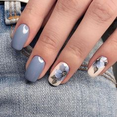 """If you're unfamiliar with nail trends and you hear the words """"coffin nails,"""" what comes to mind? It's not nails with coffins drawn on them. It's long nails with a square tip, and the look has. Grey Nail Designs, Nail Designs Spring, Perfect Nails, Gorgeous Nails, Spring Nails, Spring Nail Art, Fall Nails, Gel Nail Art, Nail Polish"""