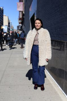 Excited to still be seeing the fuzzy jacket. Still on of my favorite statement pieces.  Style.com's Rachael Wang. Photo: Angela Datre/Fashionista
