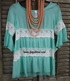 The One That Got Away Mint Sheer Top with White Lace $44.95 www.gugonline.com