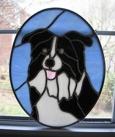 Border Collie Stained Glass Pet Portait created by www.stainedglassyourway.etsy.com