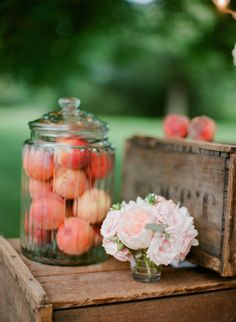 peach decor | Photography by rutheileenphotography.com, Decor and Florals by https://www.facebook.com/sweetanniefloral  Read more - http://www.stylemepretty.com/2011/11/16/inn-at-rancho-santa-fe-wedding-by-red-ribbon-studio/
