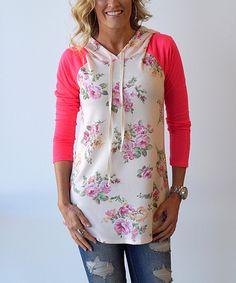 Look at this KISSmeMINT Pink Floral Raglan Hoodie on #zulily today!