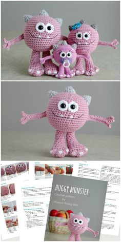 Monster Amigurumi : What a sweet little adorable monster family crochet pattern! I love the little baby monster with the soother! This would be a super fun handmade gift idea for a family welcoming a new baby! Part of a monster pattern round up by Crochet Animal Patterns, Stuffed Animal Patterns, Amigurumi Patterns, Amigurumi Doll, Crochet Animals, Bear Patterns, Doll Patterns, Needle Felted Animals, Felt Animals